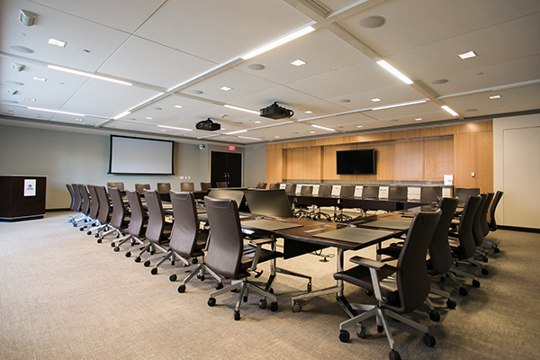The boardroom can accommodate 35 seated conference guests.
