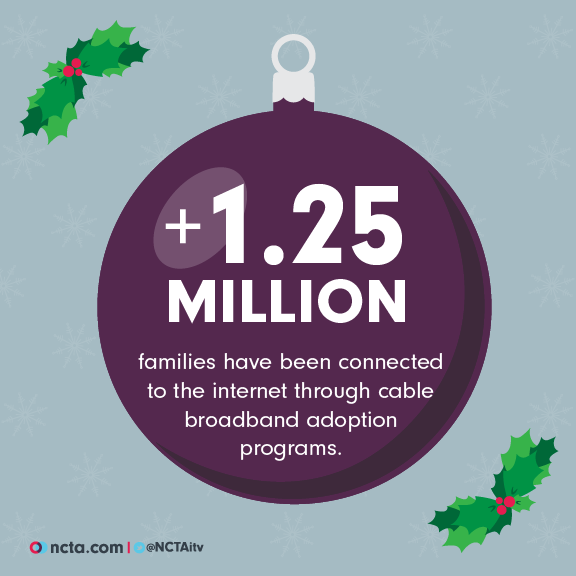 Over 1.25 million families have been connected to the internet through cable broadband adoption programs.