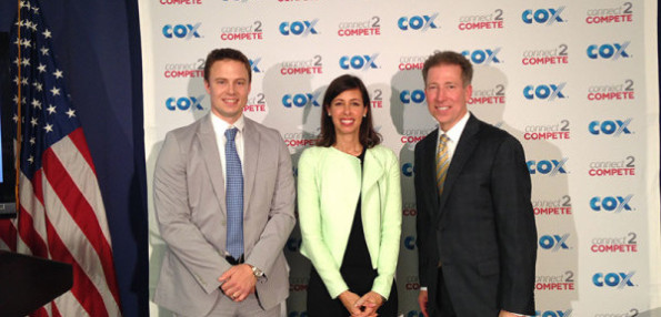Cox President Pat Esser was joined by Zach Leverenz, CEO of EveryoneOn and FCC Commissioner Jessica Rosenworcel