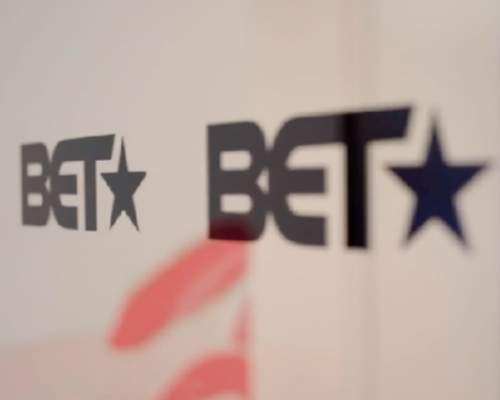 BET logos on a wall in their New York headquarters.